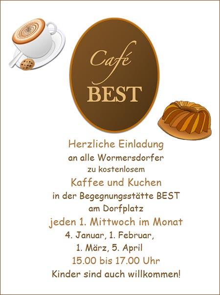 kaffee und kuchen im café best-flüchtlingshelferkreis wormersdorf, Einladung